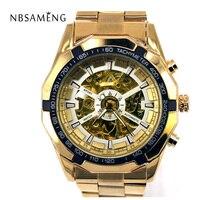 Mechanical Watch Automatic Wristwatch Stainless 2016 New Luxury Free Shipping Stylish Man Male Skeleton Relogio Masculino