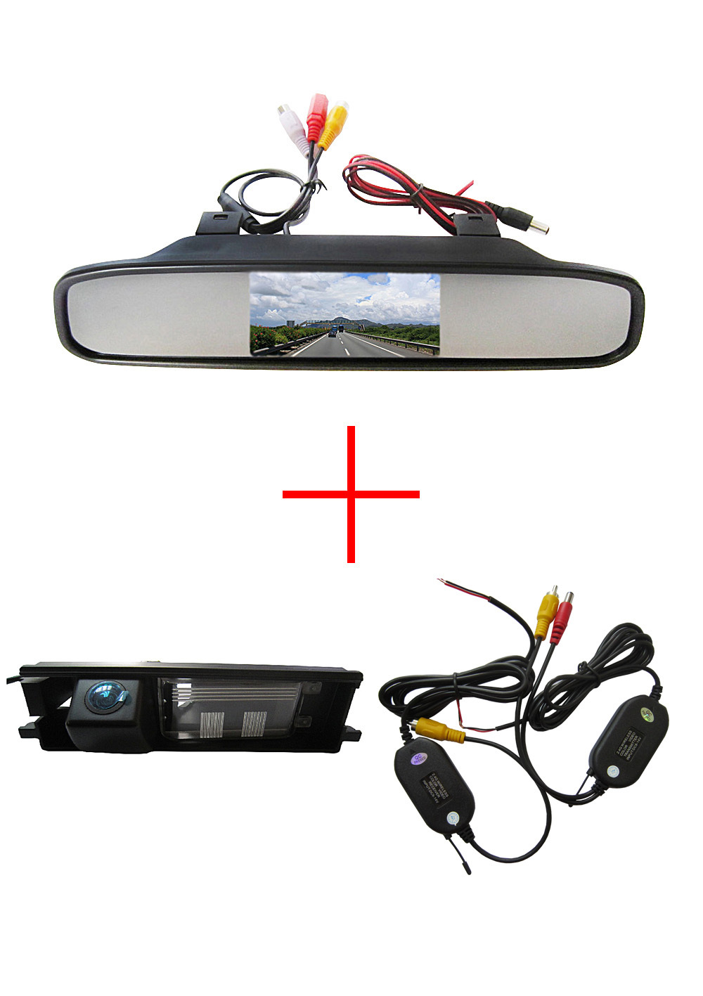 Wireless Color CCD Car Chip Rear View Camera for Toyota RAV4 RAV-4  + 4.3 Inch rearview Mirror Monitor wireless color ccd chip car rear view camera for kia sorento sportage 4 3 inch foldable lcd tft monitor