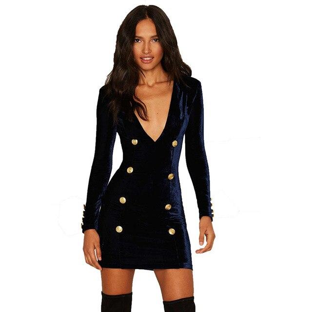 Vestido femenino profundo V vaina mini de manga corta hecho de terciopelo atractivo del club en otoño e invierno