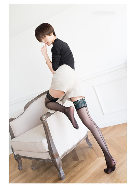 a1d30e2cb7f Punk Maid Sexy Women Stockings Peacock Wide Lace Embroidery Hold Up Back  Seam Cuban Heel Transparent