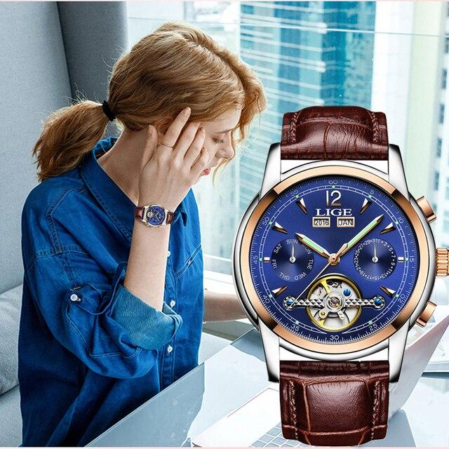 ساعات يد أنيقة للنساء ماركة فاخرة LIGE ساعة أوتوماتيكية للنساء ساعة رياضية مقاومة للماء ساعة يد للأعمال من الجلد للسيدات