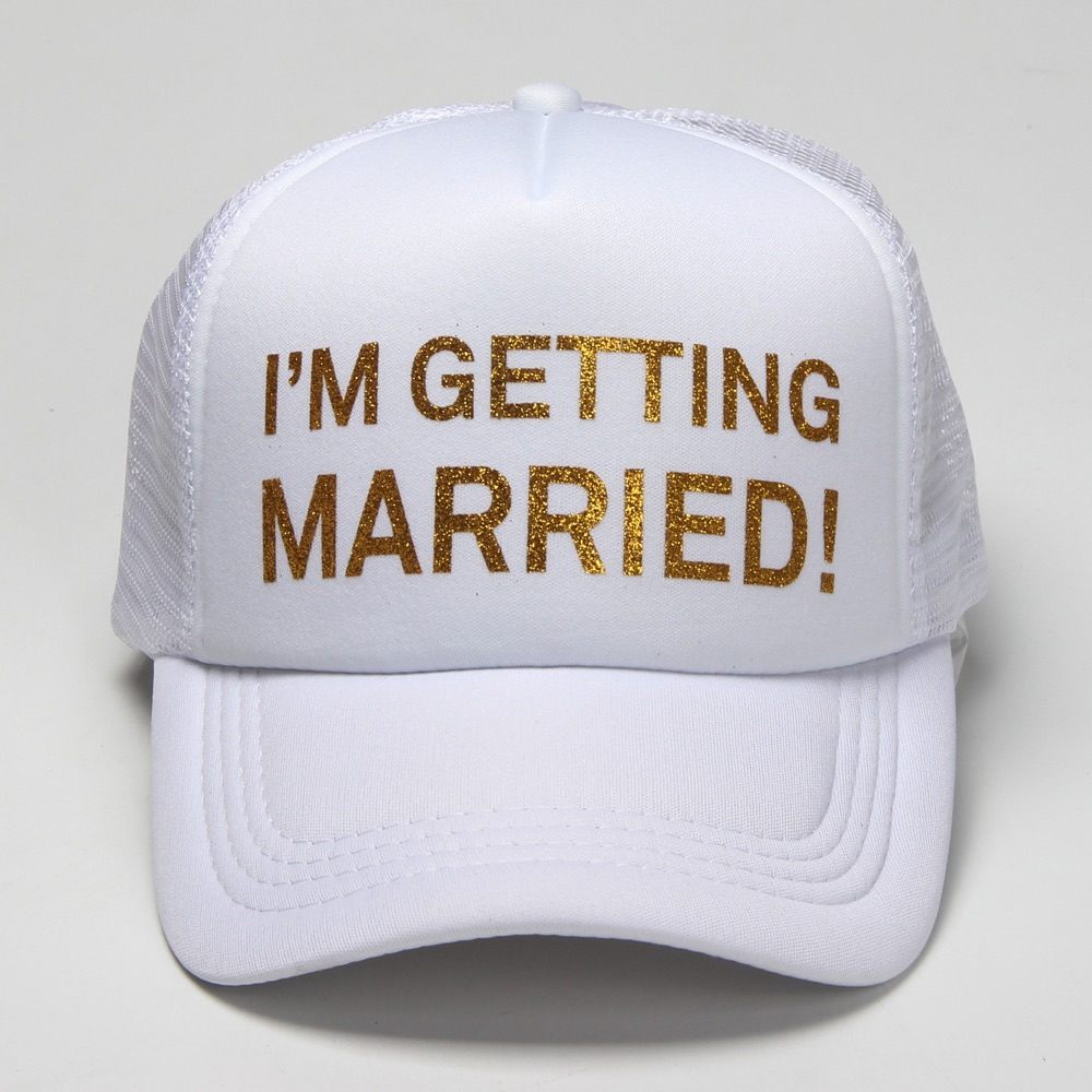 Summer Unisex Trucker Hats Fitted I'M GETTING MARRIED WE'RE GETTING DRUNK Casual Hip-hop Mesh Hat Unisex Print Baseball Caps