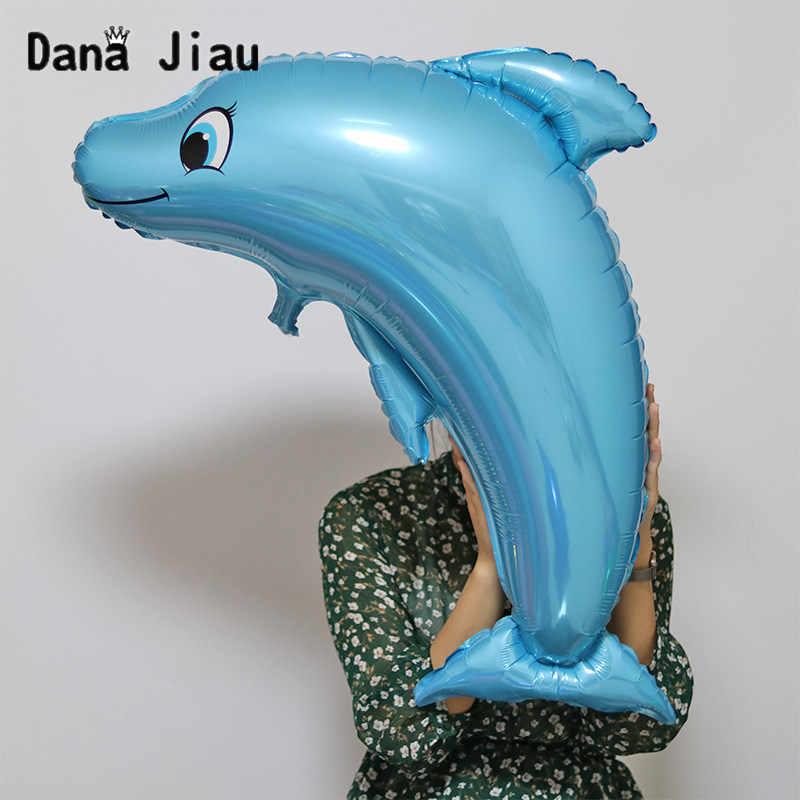 Gran tiburón azul globos niño Animal tema cumpleaños fiesta decoración océano globo bebé ducha pulpo Shell inflable bola
