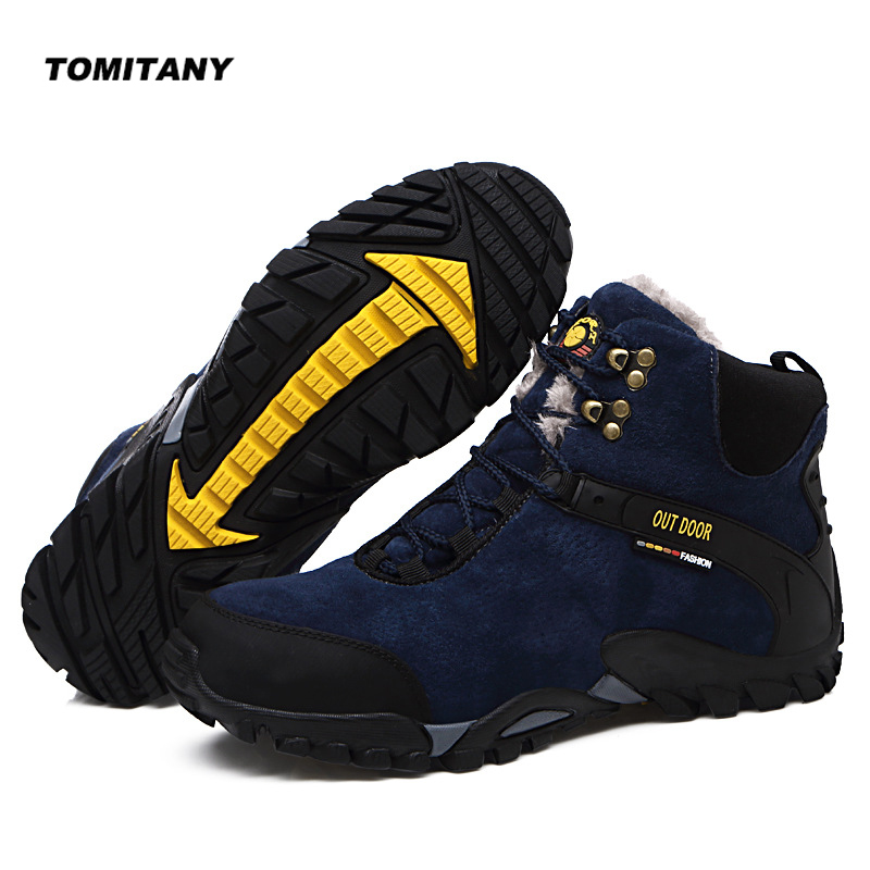 Outdoor Hiking Camping Shoes Men Winter Suede Leather Plush Climbing Mountain Sneakers Shoe Mens Tactical Trekking Snow Boots цены онлайн