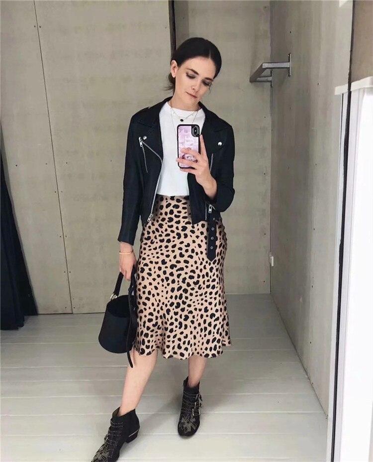 Hot Sale High Waist Leopard Midi Skirt Female Hidden Elasticized Waistband Silk Satin Skirts Slip Style Animal Print Skirt Women 9