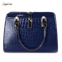 Guapabien Stylish PU Leather Tote Bag For Women Fashion Soild Zipper Lady Handbag Totes With 4
