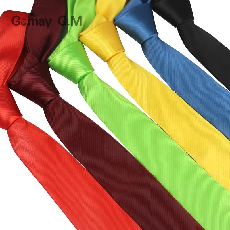 Brand Skinny Ties For Men Classic Suit Slim Neckties For Wedding 6cm Width Solid Mens Tie Casual Candy Color Striped Tie Cravat