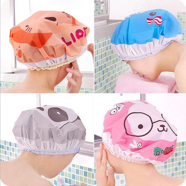 Cute cartoon shower bath cap women hat for baths and saunas lace elastic band cap spa cap women kids hair protective cap