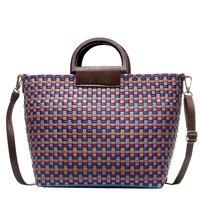 Женская сумка большого размера, Женская Повседневная сумка на плечо, пляжная сумка Ins, популярная Летняя Пляжная сумка в стиле пэчворк, модн...