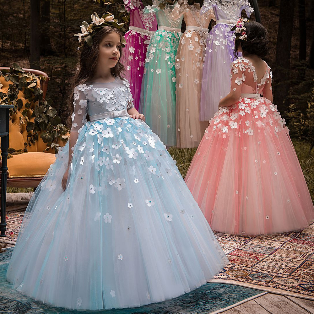New Flower Girls Dresses 3D Flowers Puffy Tulle Beading O-Neck Back Button Girls First Communion Gowns Pageant Dress girls button front cami dress
