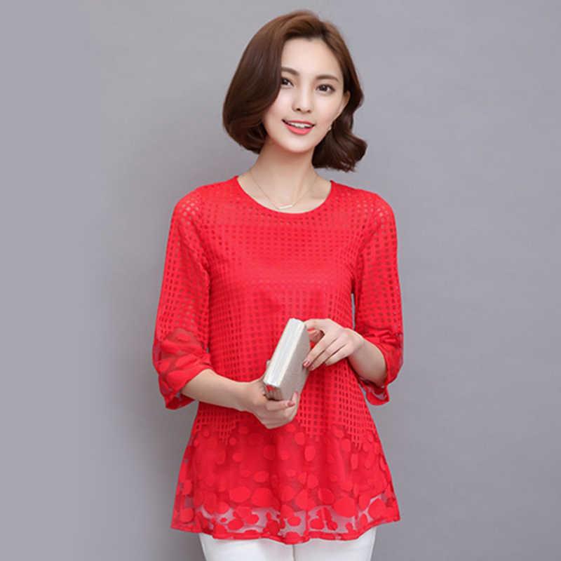 M-5XL женские летние блузки, шифоновые женские топы 2019, новые модные женские блузки больших размеров, Блузки белого, красного, черного цвета 811E
