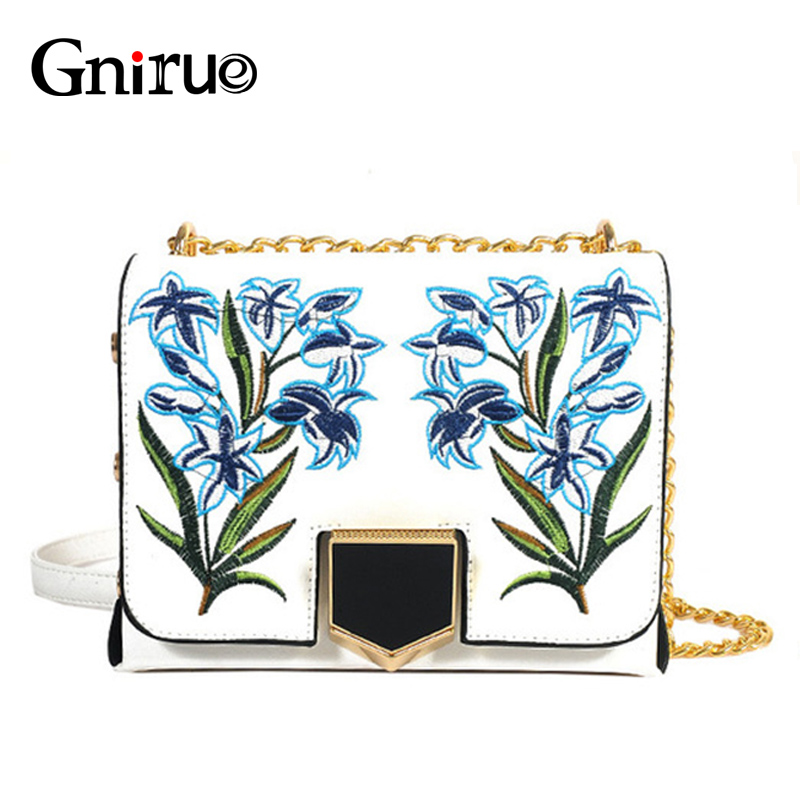 High Quality Retro Embroidery Flower Rivet Chains Women Shoulder Crossbody Bags PU Leather Handbags