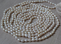 100% Real Pearl Necklace, White Long 100 Inches 5 6mm Freshwater Pearl Necklace ,Perfect Lady's Jewelry,Handmade Jewellery