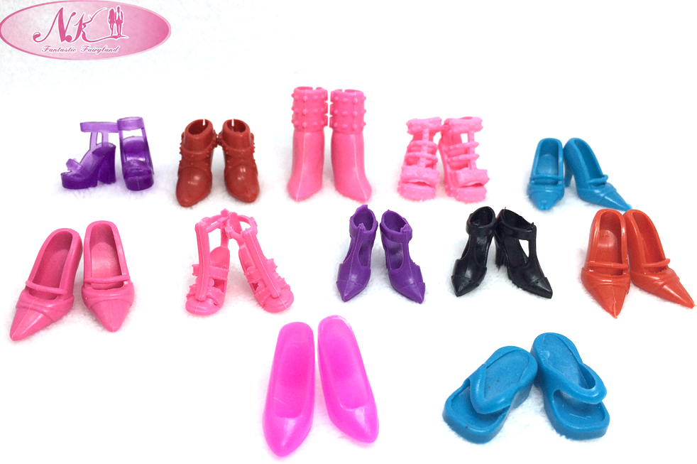 NK One Set=12 pairs Doll Shoes Fashion Cute Colorful Assorted shoes for Barbie Doll with Different styles High Quality Baby Toy 1set fashion doll shoes cute colorful assorted shoes high heel sandals for barbie doll outfits dress accessories girls gift