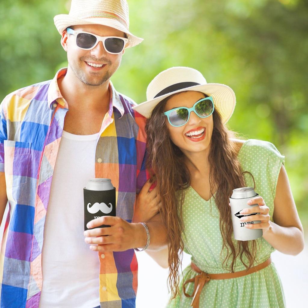 Neoprene Beer Can Cooler Sleeves Holders Wedding Favor mr mrs Mustache Lips