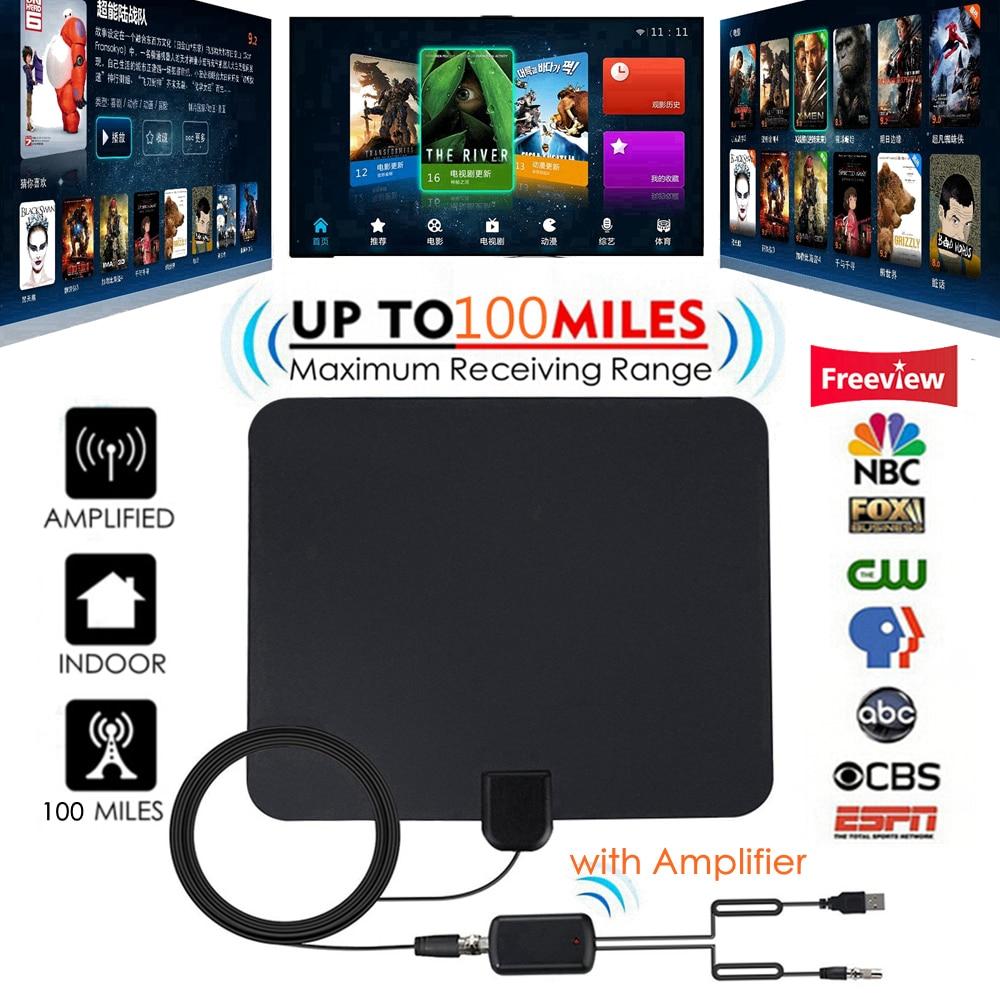 100 Miles Antena TV Digital HDTV Indoor TV Antenna with Signal Amplifier Booster Freeview Antennas DVB-T DVB-T2 UHF VHF Antenas