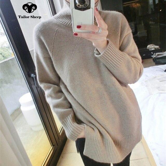 2018 חדש סגנון טהור קשמיר סוודר נשים החורף עבה חם לסרוג loose סוודרים נקבה גבוהה צווארון אווירה להאריך ימים יותר סוודר