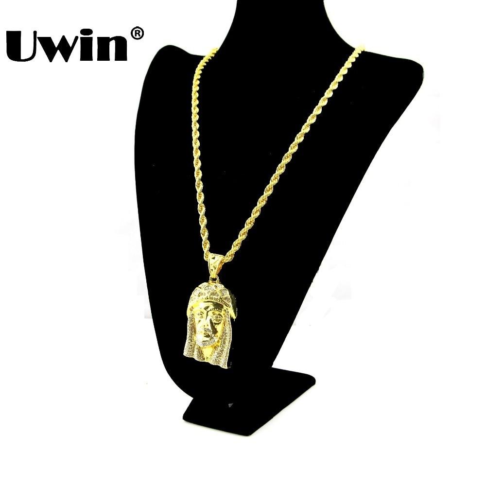Bridal classics necklace sets mj 259 - Gold Color Iced Out Jesus Piece Pendant Necklace For Men Women 30 6mm Wide
