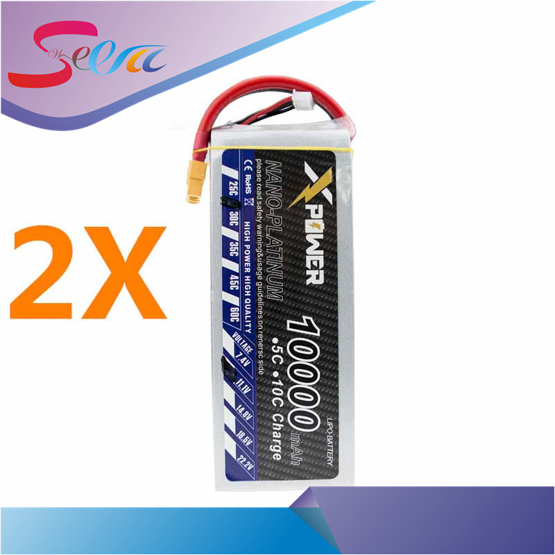 11.1V 10000mAh 3s lipo battery 30C Xpower batteries 2pcs XT60 XT90 EC5 T plug for RC Helicopter Quadcopter drone part 1pcs lipo battery 7 4v 2000mah 30c t banana xt60 plug upgrade lipo battery for syma x8c x8w quadcopter free shipping