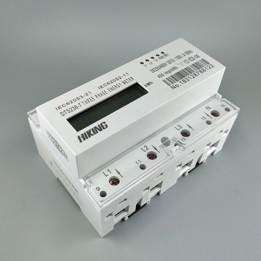 10 (100) A 3*230 V/400 V 50 HZ triphasé Din rail KWH Watt heure din-rail compteur d'énergie LCD