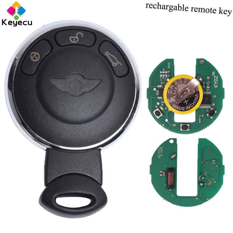 KEYECU Rechargeable Remote Key With 3 Button 315MHz ID46 Chip - FOB for BMW Mini Cooper 2007 2008 2009 2010 2011 2012 2013 2014