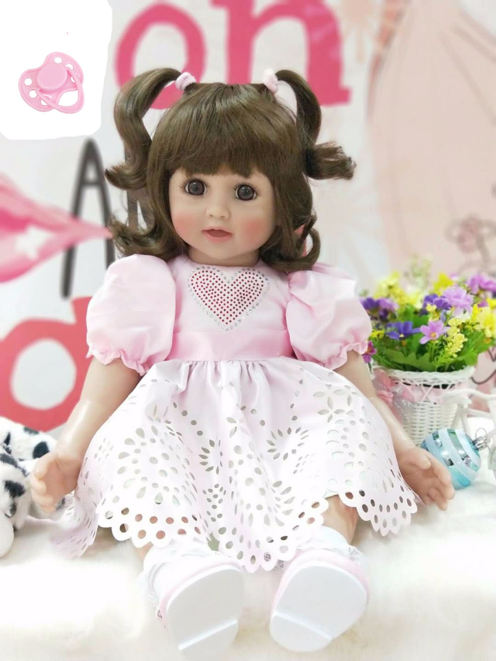 60cm Silicone Reborn Baby Girl Doll Toys 24inch Vinyl Smile Princess Toddler Babies Dolls Birthday Gift Present Play House Toy 60cm silicone vinyl reborn girl baby doll toys 24inch princess toddler babies dolls child fashion birthday gift play house toy