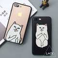 Funny Cartoon Cat Case For iphone 7 Case For iphone7 PLus 6 6S 5 5S Phone Cases Cute Grumpy Animal Middle Finger Back Cover Capa
