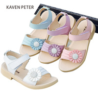 2018 leather sandals girl summer shoes genuine cow leather children beach sandals big flower with diamond kid sandals size 26 37