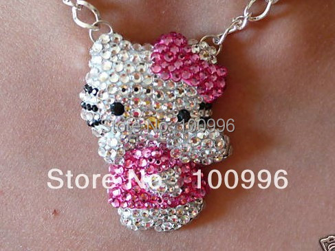 Hello Kitty Pendant ALP Hot Sale 3D Body Hello Kitty Jewelry sliver Chain Pink Rhinestones Bow Hello  Kitty Pendant Necklaces For Women Accessories Gifts