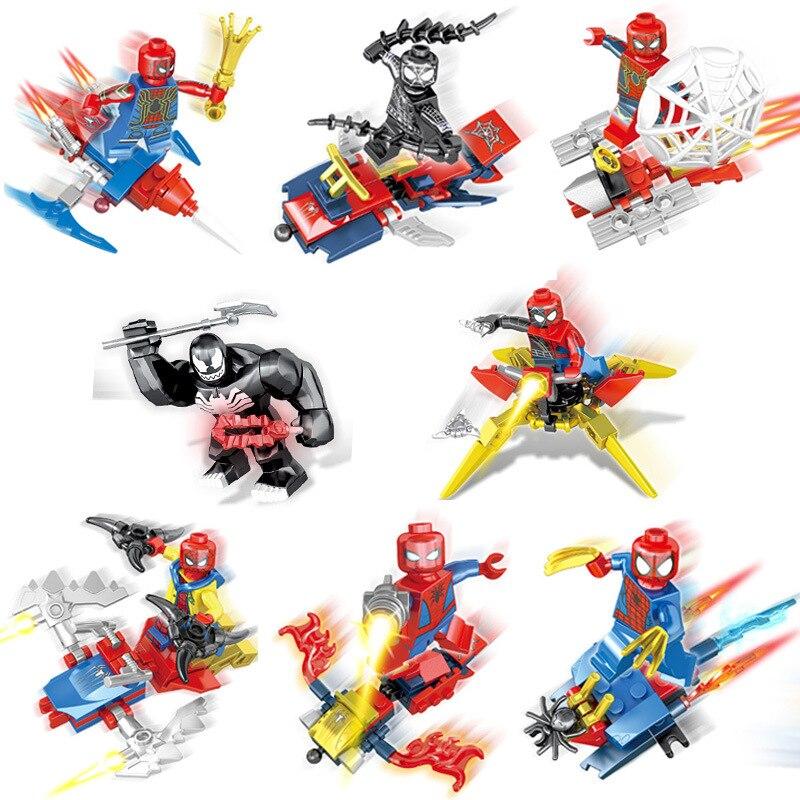 Gros nouveaux Legoing Avenger Super héros 8 en 1 Spider-Man blocs de construction briques bébé jouets éducatifs enfants cadeau