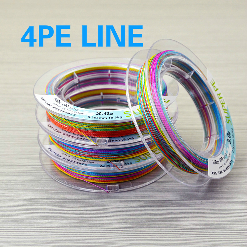 PE Braid Line 109Yds/100M 0.16-0.4mm 10-80LB 4 Strands Super Strong Braided Fishing Line for Sea Fishing Colorful Fishing Tackle