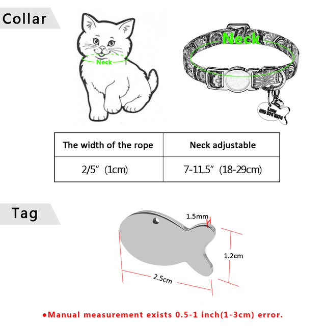 Quick Release Cat Collar With Bell Personalized Kitten Collar Breakaway Cats Safety Necklace Free Engraved Fish ID Tag Nameplate 6