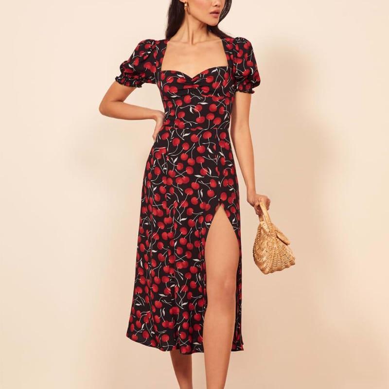 Summer Women Dress Casual Printing Slim Dress Fruit Vestidos