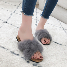 2019 Autumn/Winter Women Home Slippers with Faux Fur Fashion Warm Shoes Woman Slip on Flats Female Slides Indoor Fur Flip Flops faux fur decorated flats