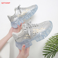 NEW Diamond Sneaker Casual Shoes Woman Clear Platforms Bling Bling Women Sneakers Lace Up Thick Bottom Zapatos De Mujer