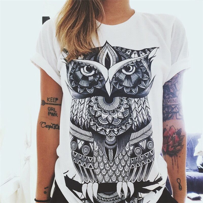 CDJLFH Summer Fashion Women T-shirt Owl Prints Women O Neck Short Sleeve Tops Shirt 2019 White Tshirt For Women
