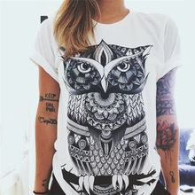 CDJLFH Summer Fashion Women T-shirt Owl Prints Women O Neck Short Sleeve Tops Shirt 2019 White