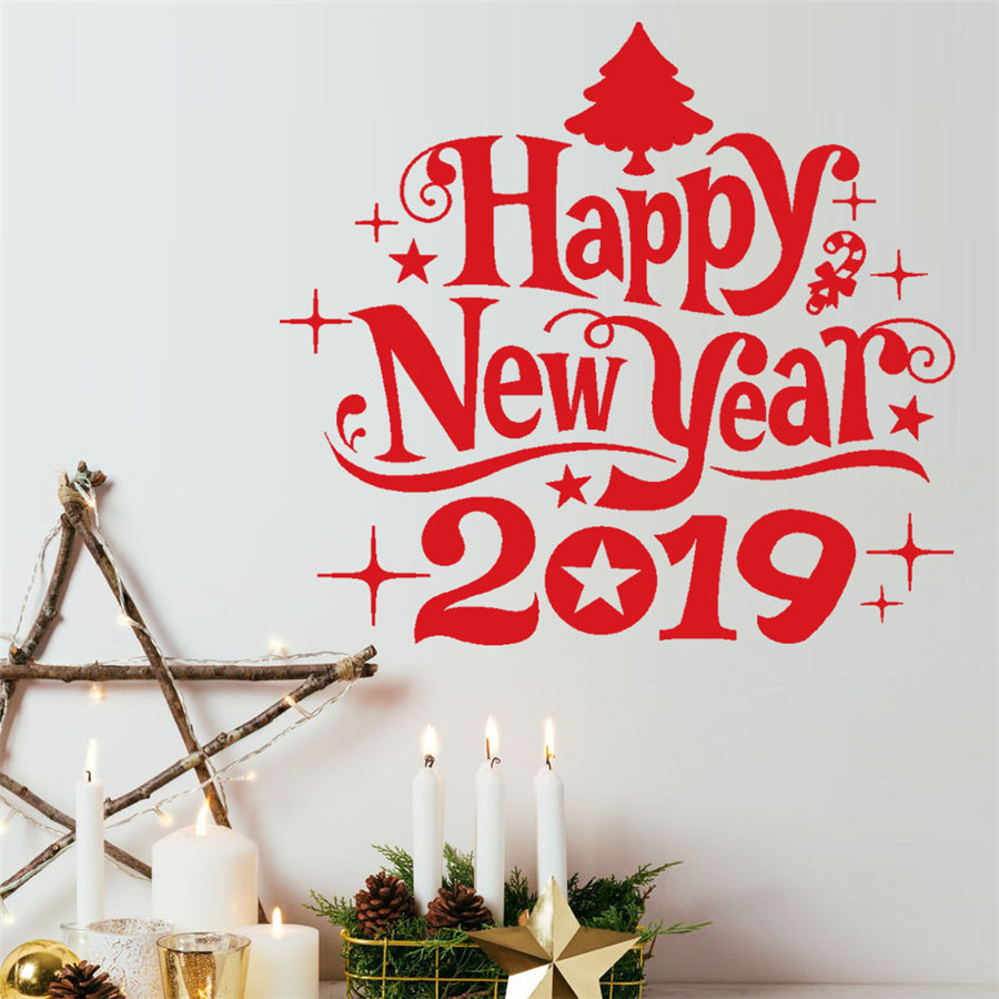 2019 New Year Merry Christmas Wall Sticker Home Shop Windows Decals Decor Christmas Gifts 36*40cm Dropshipping Sep#1