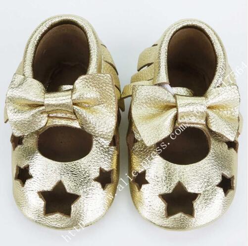 2016 новая лазерная резка звезда Лепнина Из Натуральной Кожи детская обувь для девочек Первые Ходоки ребенка Малыша мокасины лук мэри джейн Обувь