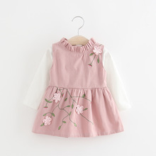 WYNNE GADIS Autumn Baby Kids Long Sleeve Cotton Blouse Tops + Floral Print Tutu Sundress Girls Two Pieces Pleated Party Dress