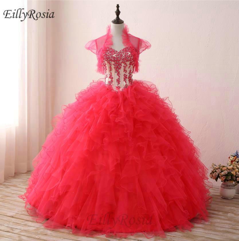 Robe de bal Quinceanera robes avec veste volants Appliques paillettes Corset pastèque rouge chérie robes de 15 robe de bal