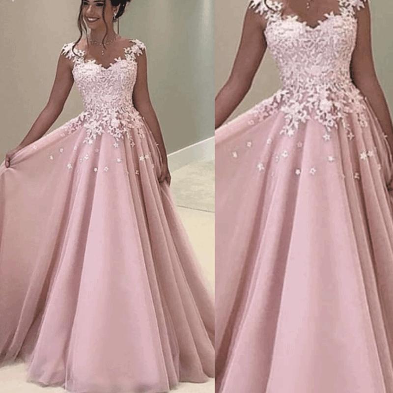 New Arrival Chiffon Cap sleeve   evening     dresses   Long Pink   Evening   gowns 2019 Lace Appliques Formal   dress   party vestido elegante
