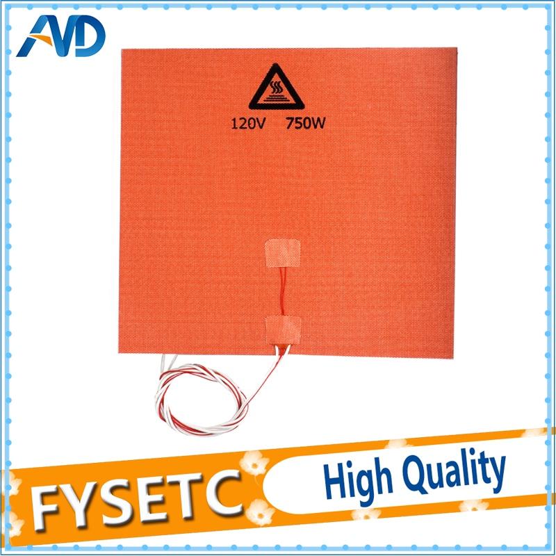 1 PC Silicone Chauffe 330x330mm 120 V 750 W Pour Tronxy X5 3D Imprimante HeatBed Mise À Niveau Avec NTC 100 K Thermistance et Adhésif
