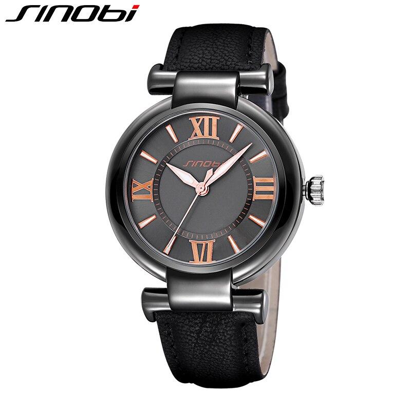SINOBI Women Watch 2016 Brand Luxury Lady Dress Watch Leather Strap Fashion Quartz Watch Female Wristwatch