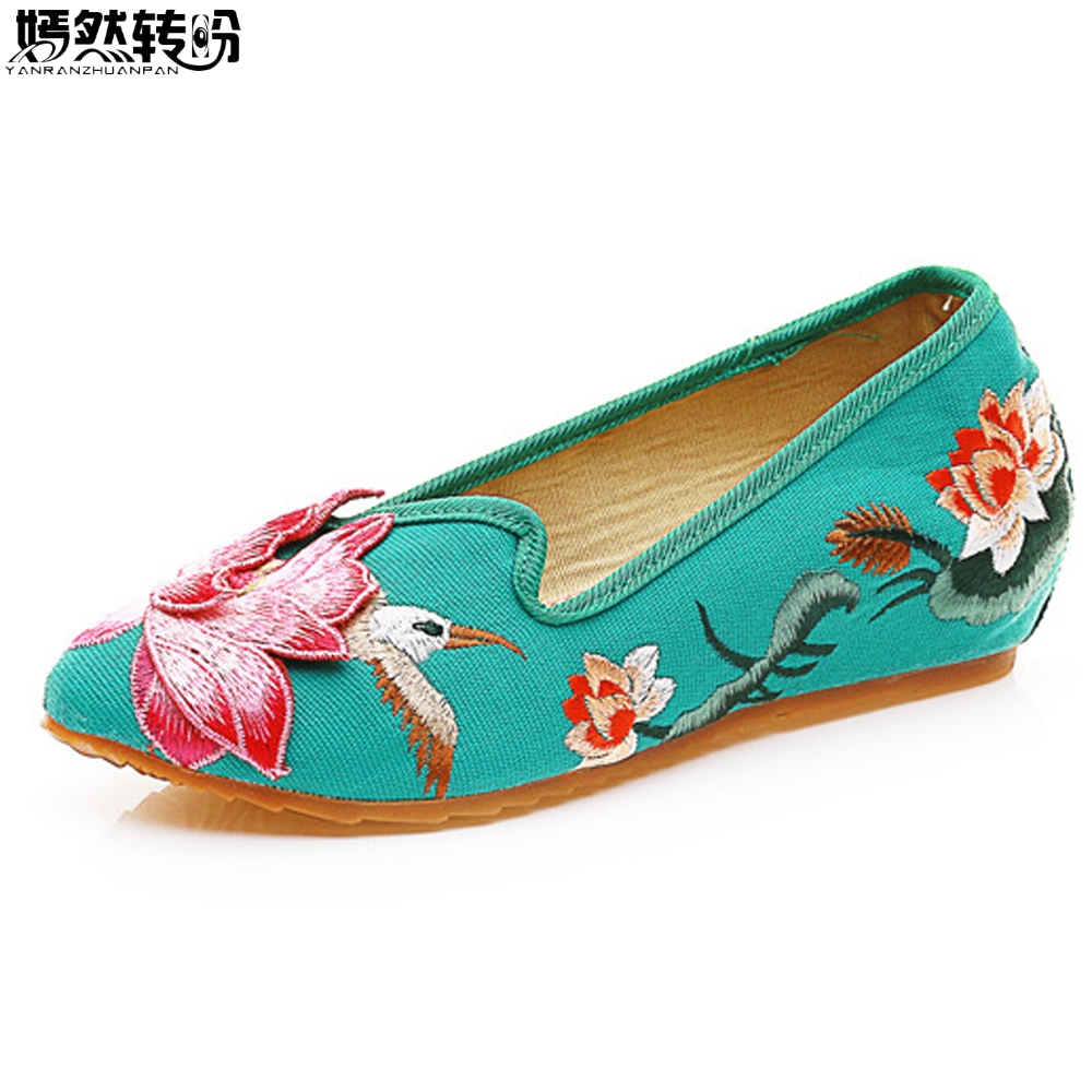 Vintage Women Flats 3D Lotus Bird Embroidery National Cloth Shoes Woman Pointed Toes Cotton Ballet Comfortable Driving Loafers vintage embroidery women flats chinese floral canvas embroidered shoes national old beijing cloth single dance soft flats
