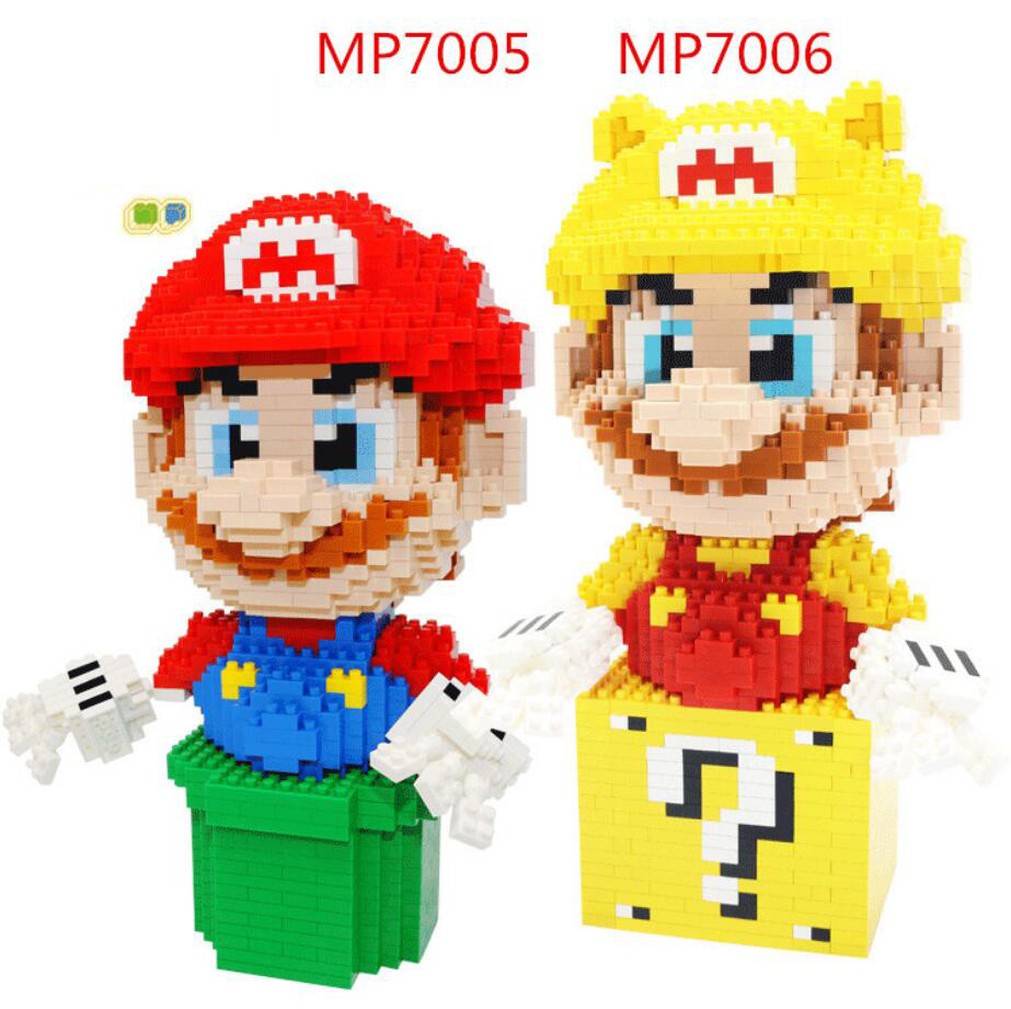 Hot Golden Super Mario Bros Image Micro Diamond Building Block Nintendoes Geme Model Nanoblock Bricks Toys for Kids Gifts