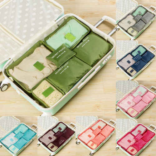 6PCS Convenient Solid Eco-friendly Travel Packing Cube Pouch Suitcase Clothes Storage Bags Luggage Organizer