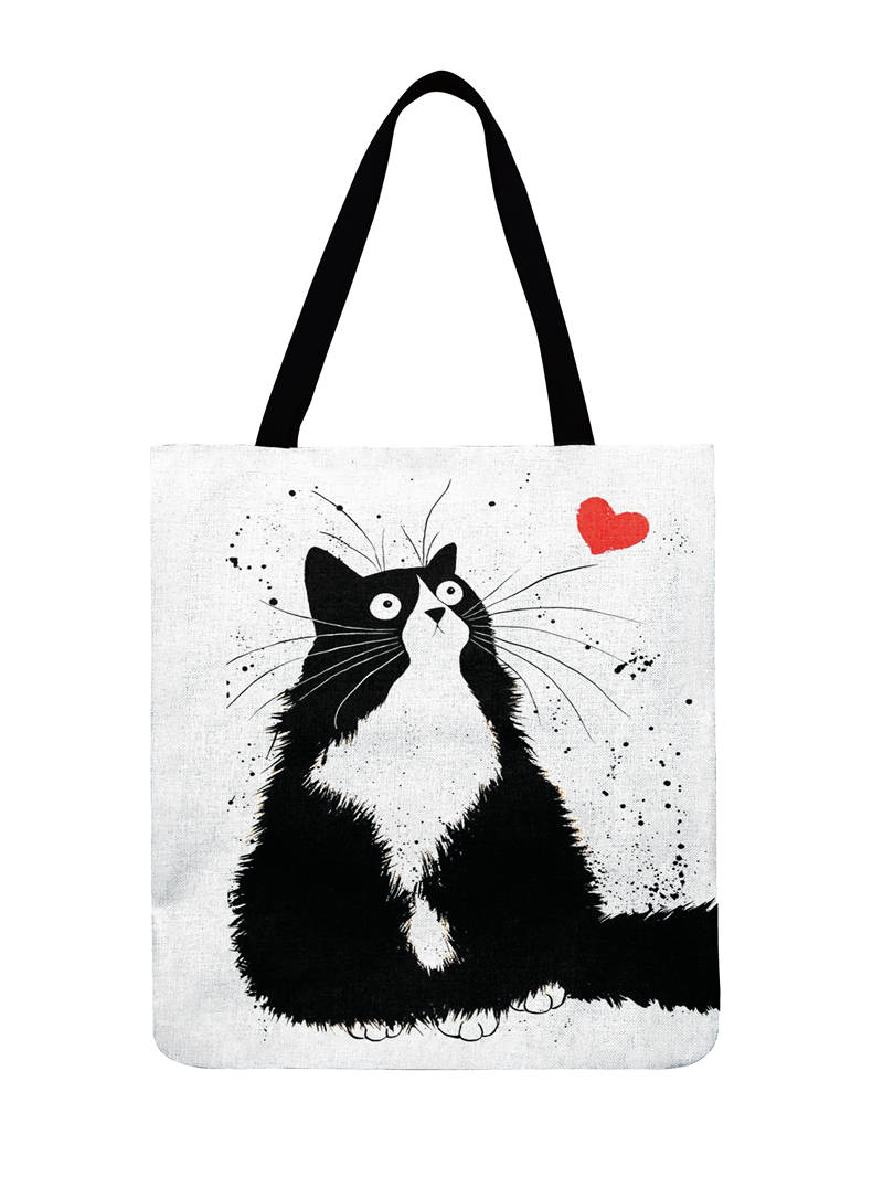 Ladies Shoulder Bag Black And White Cat Printed Tote Bag For Women Casual Foldable Shopping Bag Outdoor Beach Bag Daily Hand Bag