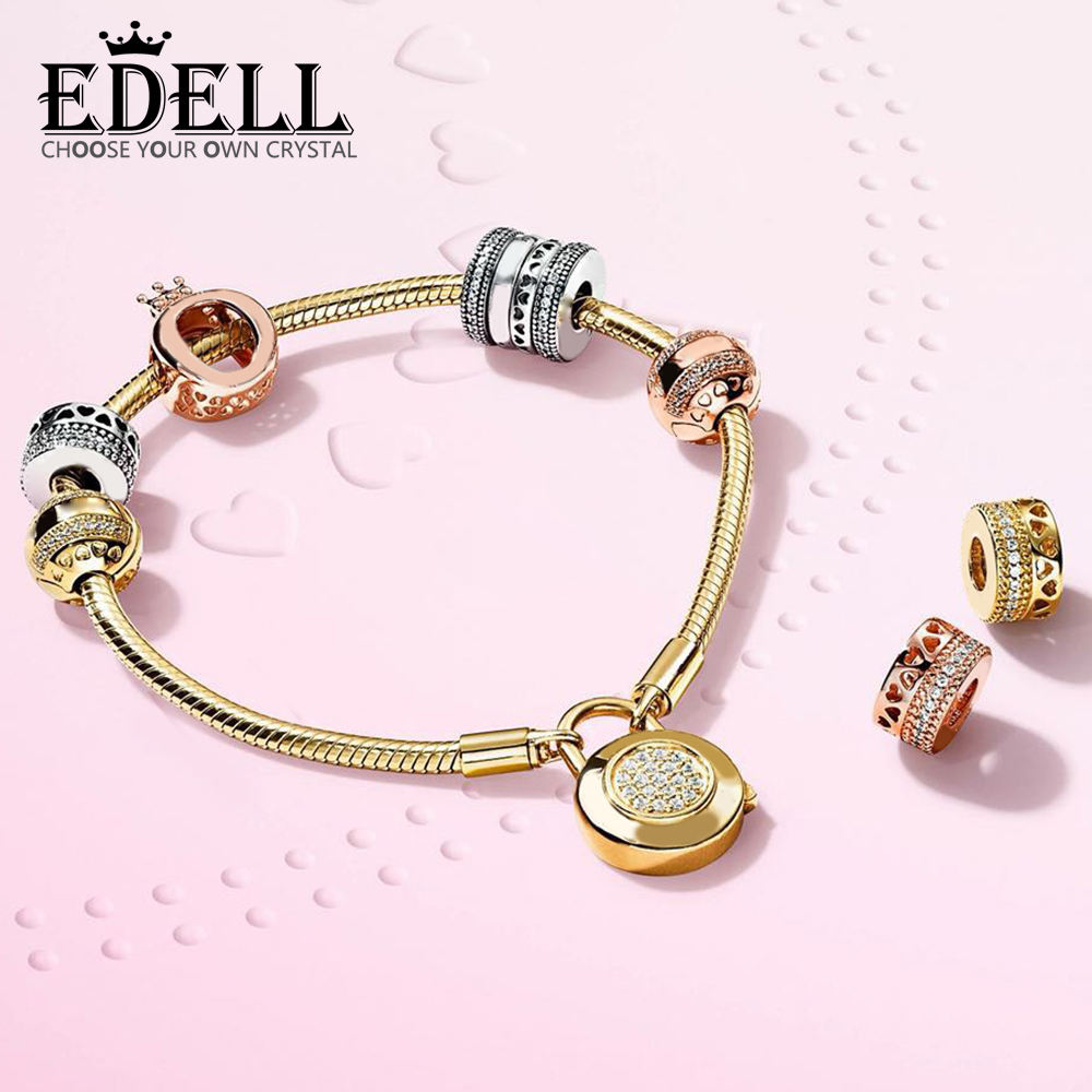 EDELL 100% 925 Sterling Silver Shine Crown O Charm Rose Hearts of Spacer Charm LOGO HEARTS CLIP  MOMENTS SMOOTH BRACELET SETEDELL 100% 925 Sterling Silver Shine Crown O Charm Rose Hearts of Spacer Charm LOGO HEARTS CLIP  MOMENTS SMOOTH BRACELET SET