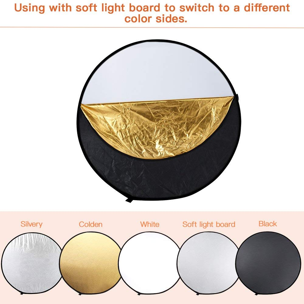 43″ 110cm 5 in 1 Round Photography Photo Reflector Portable Collapsible Light Round Reflector with Zipped Round Carrying Bag